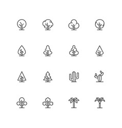 Simple lineart trees icons landscape line vector