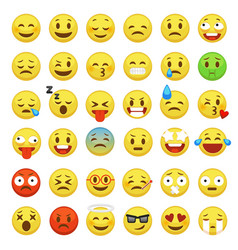 Smiley face set character facial yellow sign vector
