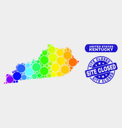 Spectral mosaic kentucky state map and scratched vector