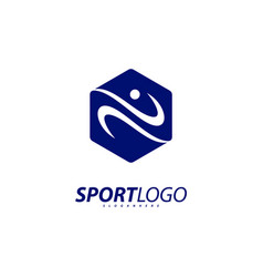 sport symbol design fitness people icon logo vector image