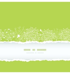 Spring trees torn paper horizontal boder seamless vector