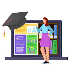 Student stand near laptop with electronic library vector