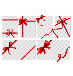 transparent cards banners with realistic red bows vector image