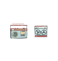 vintage audio players music record cartoon in vector image