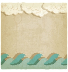 Vintage background with waves and clouds vector