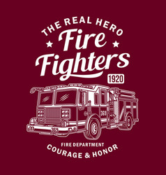 vintage fire truck graphic vector image