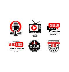 Vlog logo design collection video blog channel vector