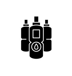 water bottles black icon sign on isolated vector image