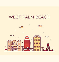 West palm beach skyline florida usa linear vector