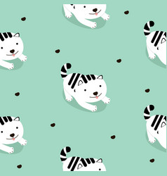 white cat cartoon seamless pattern vector image