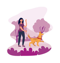 Young woman female walking with dog vector