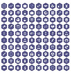 100 seminar icons hexagon purple vector