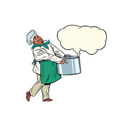 african chef holding a hot pot cloud of steam vector image vector image