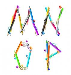 Alphabet office mnop vector image vector image