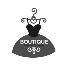 fashion boutique creative emblem in form of dress vector image vector image