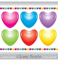 glossy hearts set vector image vector image