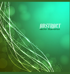 Green background with glowing fibres vector