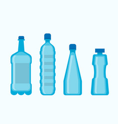 plastic blue water bottles set isolated on white vector image vector image