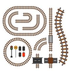 Railroad and railway tracks construction elements vector