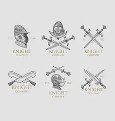 set of monochrome knights emblems badges labels vector image