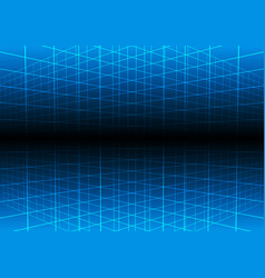 Blue grid light technology background vector