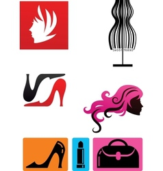 collection of fashion icons and elements vector image