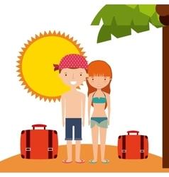 Couple cartoon and sun icon Summer design vector image