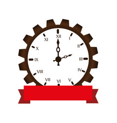 gear machine with watch isolated icon vector image