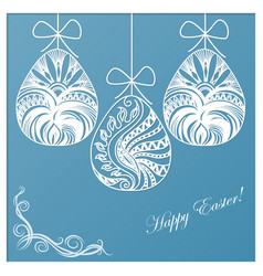 invitation card of easter with eggs vector image