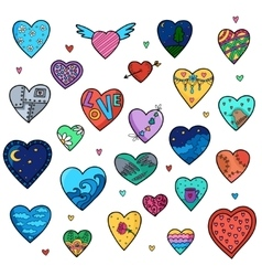 Set of sketch hearts isolated on white vector image vector image
