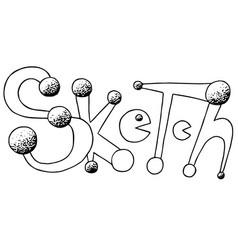 sketch with pacman hand drawn phrase ink vector image vector image