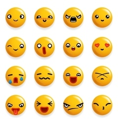 Smile emoticon icons set isolated 3d realistic vector