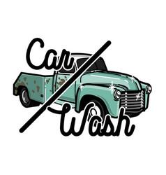 color vintage car wash emblem vector image vector image