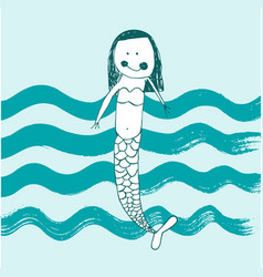 cute baby mermaid vector image
