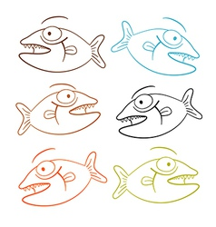 Fish outline set isolated on white background vector