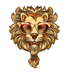 hipster lion with colorful eyeglasses vector image vector image