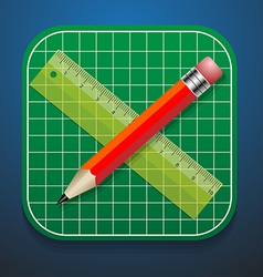 Cutting mats pencil and ruler icon vector image vector image