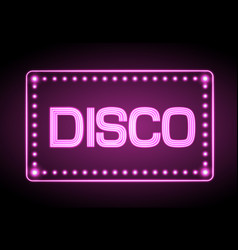 neon sign disco party vector image vector image