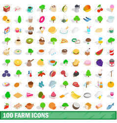 100 farm icons set isometric 3d style vector