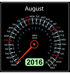 2016 year calendar speedometer car August vector image