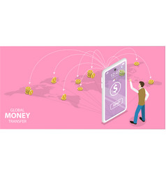 3d isometric flat concept money transfer vector