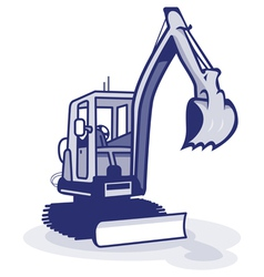 a blue digger machinery vector image