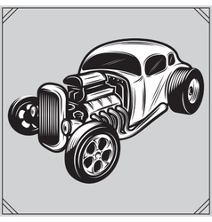 A stylish monochrome hotrod on a vector