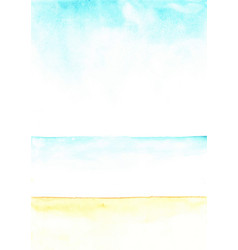 Abstract beach and sky color field watercolor vector