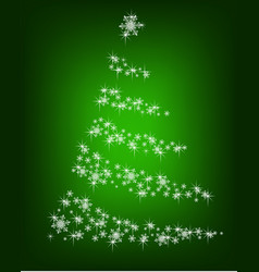 abstract christmas tree of snowflakes on a green vector image