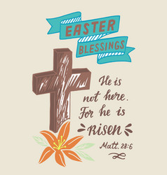 And lettering with inscription he is risen and vector