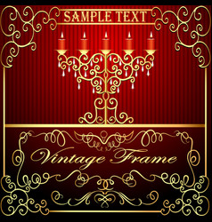 background with burning candles and gold vector image