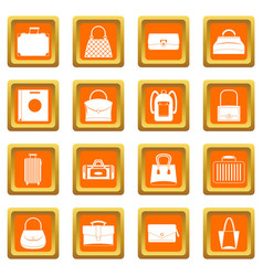 bag baggage suitcase icons set orange vector image