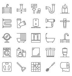 Bathroom outline icons set - washroom line vector