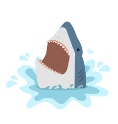 Big white shark with open jaws vector